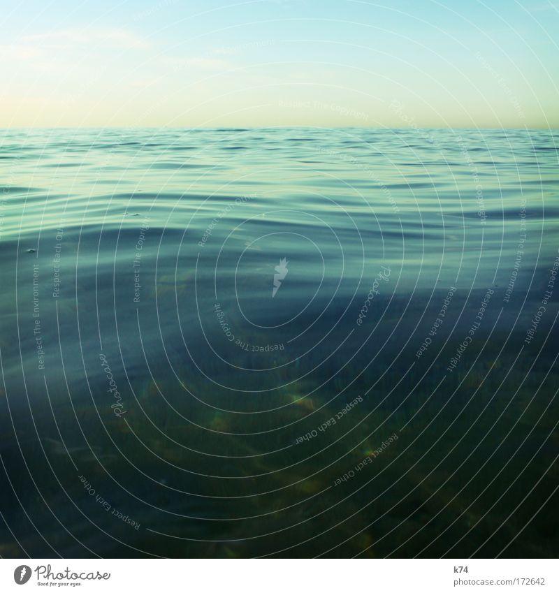billow Ocean Lake Mediterranean sea Horizon Sky Calm Empty Waves Blue Green Fresh Smooth Glittering Soft