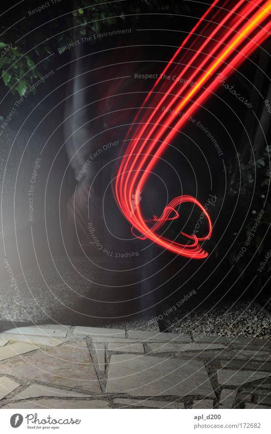 Red Swing Light Night Tracer path Strip of light Spirited Light painting