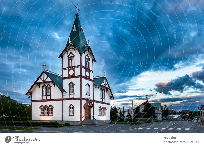 Icelandic church in the little town of Husavik Vacation & Travel Summer Landscape Village Church Building Architecture Small White Religion and faith Europe