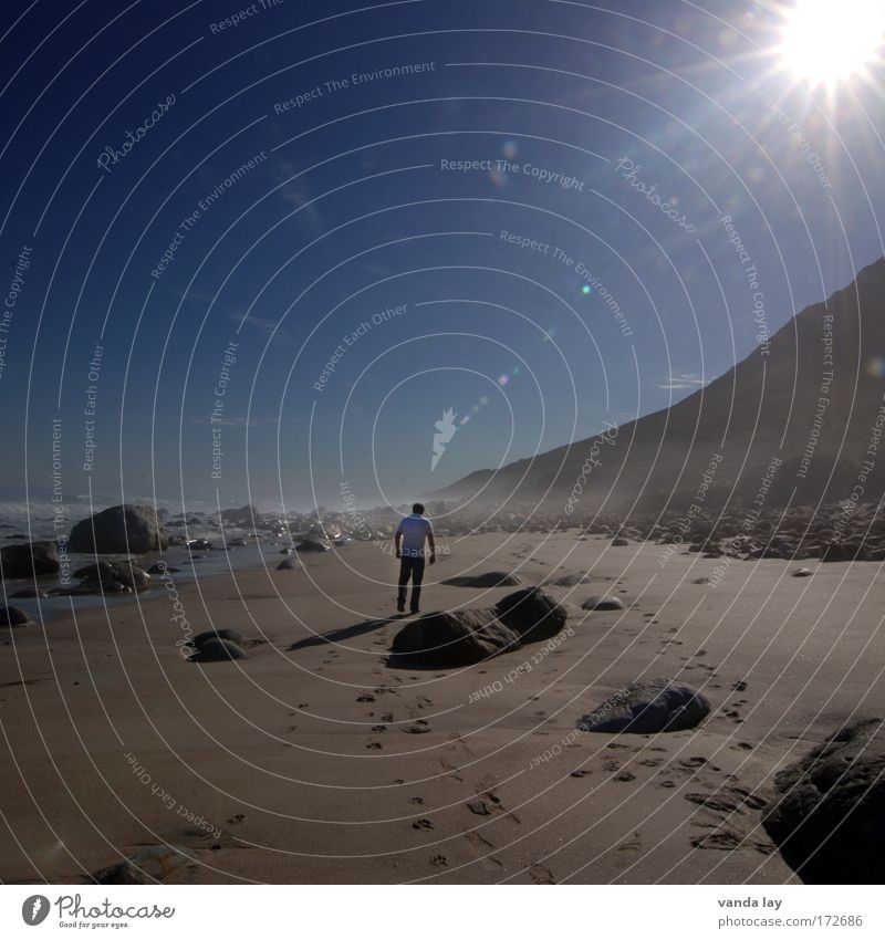 Human being Sky Man Blue Water Vacation & Travel Ocean Summer Beach Adults Environment Landscape Mountain Sand Stone Coast