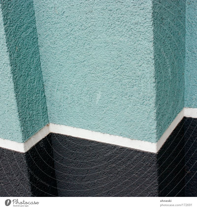 House (Residential Structure) Black Wall (building) Wall (barrier) Building Architecture Facade Manmade structures Entrance Painter Line Zigzag Mint green