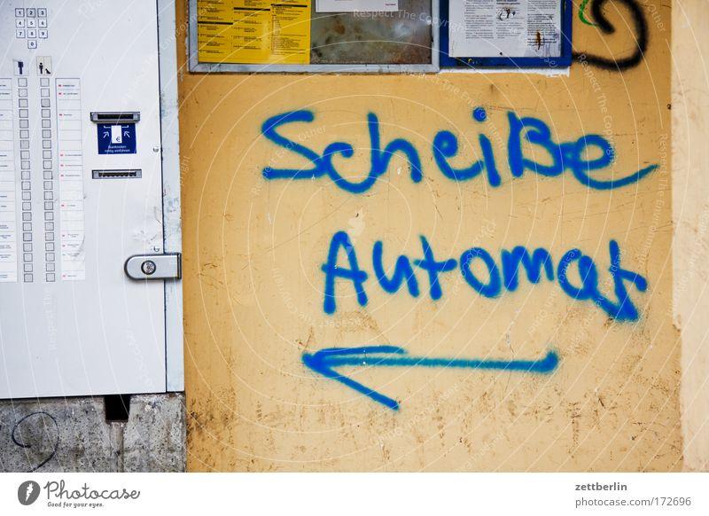 Shit machine Vending machine Ticket Ticket machine rationalisation Automation staff cuts turbo-capitalism expression of opinion Criticism Graffiti Vandalism