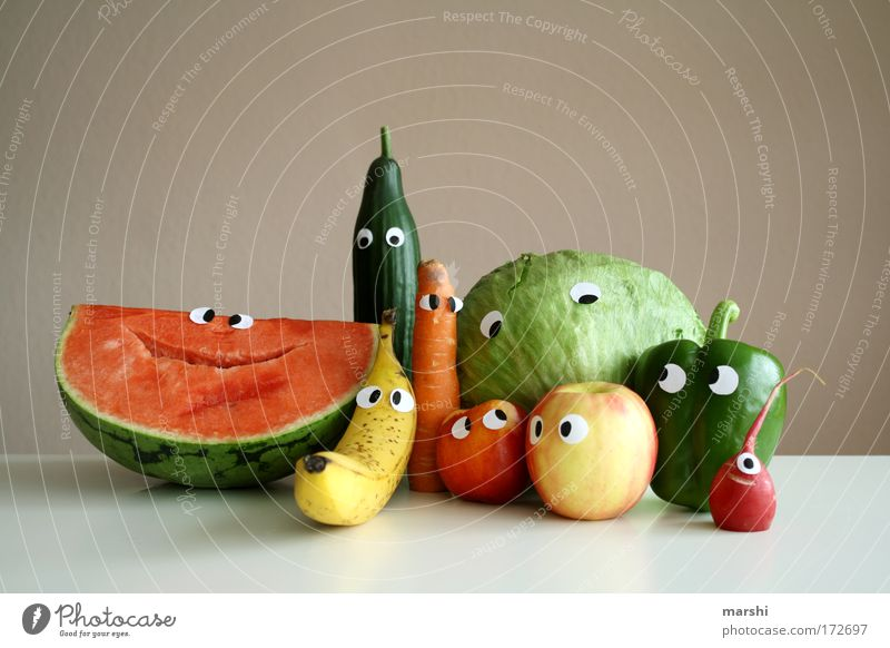 Joy Face Eyes Emotions Funny Healthy Food Family & Relations Fruit Multiple Smiling Fresh Portrait photograph Nutrition Cooking & Baking Vegetable