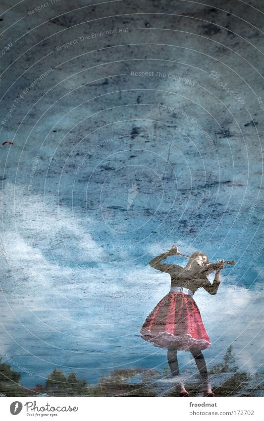 Woman Human being Youth (Young adults) Sky Blue Loneliness Feminine Emotions Style Music Dream Moody Art Adults Reflection Elegant