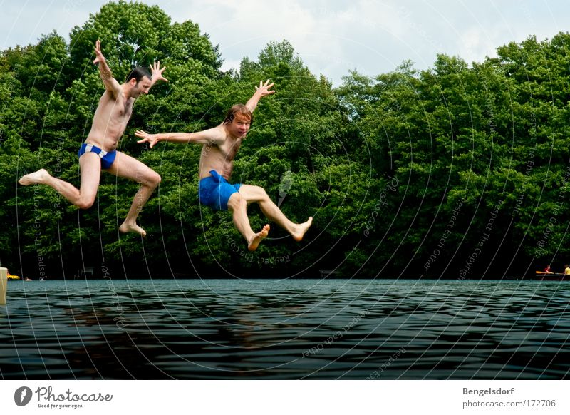 Human being Nature Youth (Young adults) Water Vacation & Travel Summer Joy Freedom Happy Jump Lake Leisure and hobbies Swimming & Bathing Flying Tall Crazy