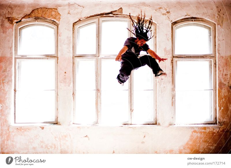 Human being Man Youth (Young adults) Joy House (Residential Structure) Jump Window Adults Masculine Flying Lifestyle Dreadlocks Young man 18 - 30 years