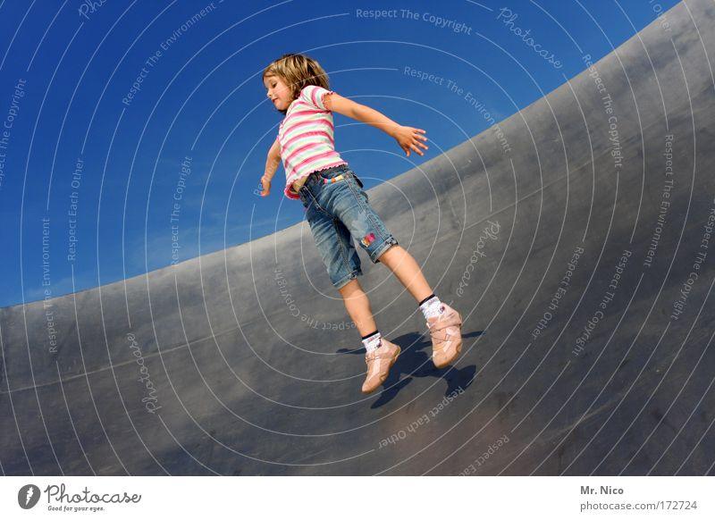 lightness Exterior shot Girl Arm Legs Sky Beautiful weather Jump Infinity Joy Happy Happiness Contentment Joie de vivre (Vitality) Movement Freedom