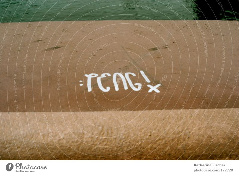 PENG! Bridge Stone Characters Graffiti Brown White Wall (barrier) Water Colour photo Exterior shot Close-up Deserted Day
