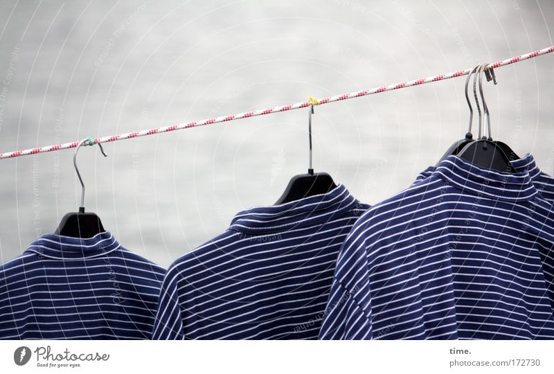 Clothing Rope Stripe Shirt Row Hang Markets Striped Sell Hang up Goods Costume Maritime Offer Hanger Characteristic