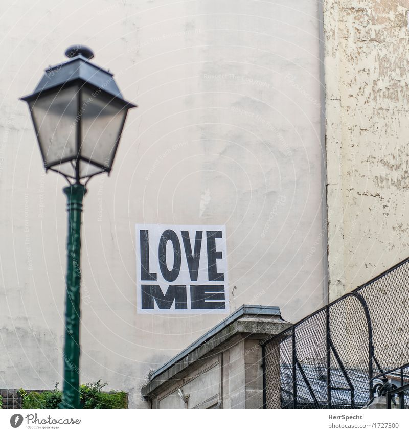 invitation Paris Downtown Old town Manmade structures Building Wall (barrier) Wall (building) Characters Love Kitsch Town Emotions Street art Poster Placarded