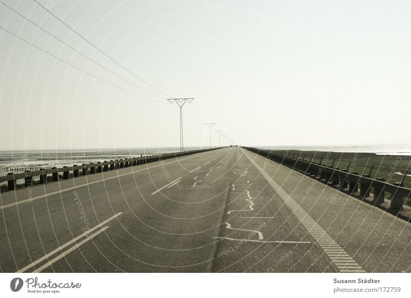 Highway to Rømø Subdued colour Exterior shot Deserted Copy Space left Copy Space right Copy Space top Day Shadow Contrast Tourism Trip Far-off places Expedition
