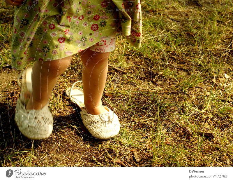 Human being Child Green Beautiful Girl Yellow Movement Grass Garden Legs Dream Feet Footwear Dance Elegant Tracks
