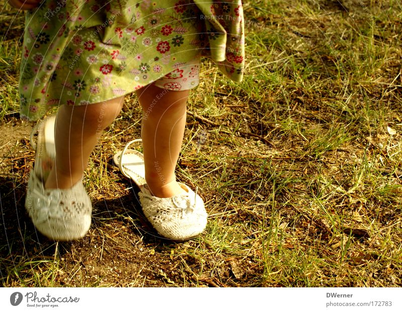 Human being Child Green Beautiful Girl Yellow Movement Grass Garden Legs Dream Feet Footwear Dance Elegant Tracks