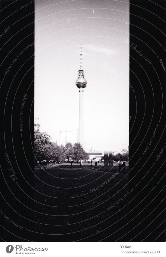 Berlin Television Tower Black & white photo Day Panorama (View) Capital city Downtown Places Tourist Attraction Landmark Berlin TV Tower Gigantic Tall Large