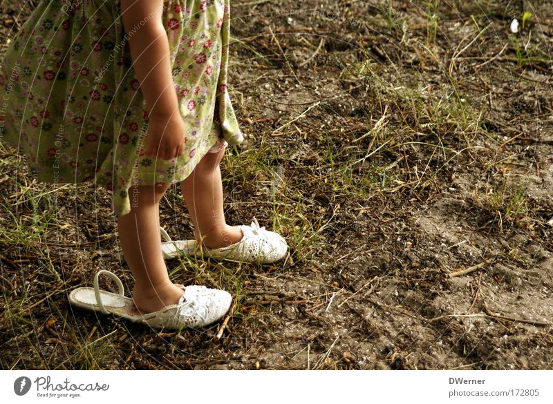Human being Child Green Girl Joy Yellow Feminine Movement Grass Legs Dream Feet Footwear Dance Going Elegant
