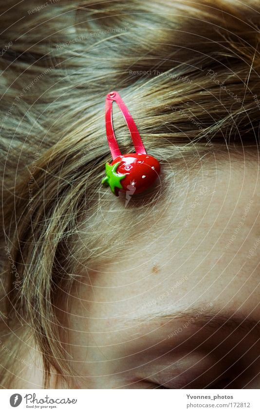 Strawberry Girl Fruit Style Beautiful Hair and hairstyles Strand of hair Hair accessories Hair barrette Human being Feminine Child Woman Adults Infancy Summer