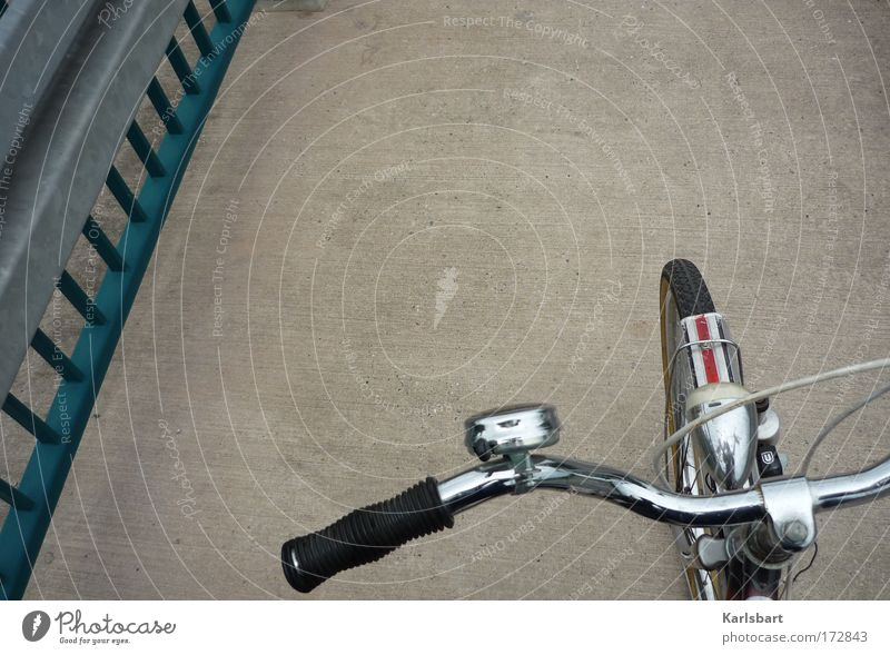 Old Street Freedom Gray Style Bicycle Leisure and hobbies Trip Transport Study Bridge Retro Driving Handrail Traffic infrastructure Silver
