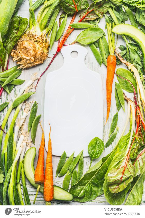 Empty chopping board and various green organic vegetables Food Vegetable Lettuce Salad Herbs and spices Nutrition Organic produce Vegetarian diet Diet Style