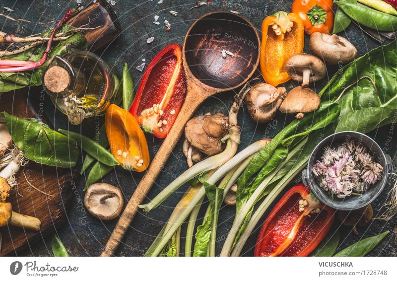 Various fresh vegetables and cooking spoons Food Vegetable Herbs and spices Nutrition Organic produce Vegetarian diet Diet Spoon Lifestyle Design Healthy Eating