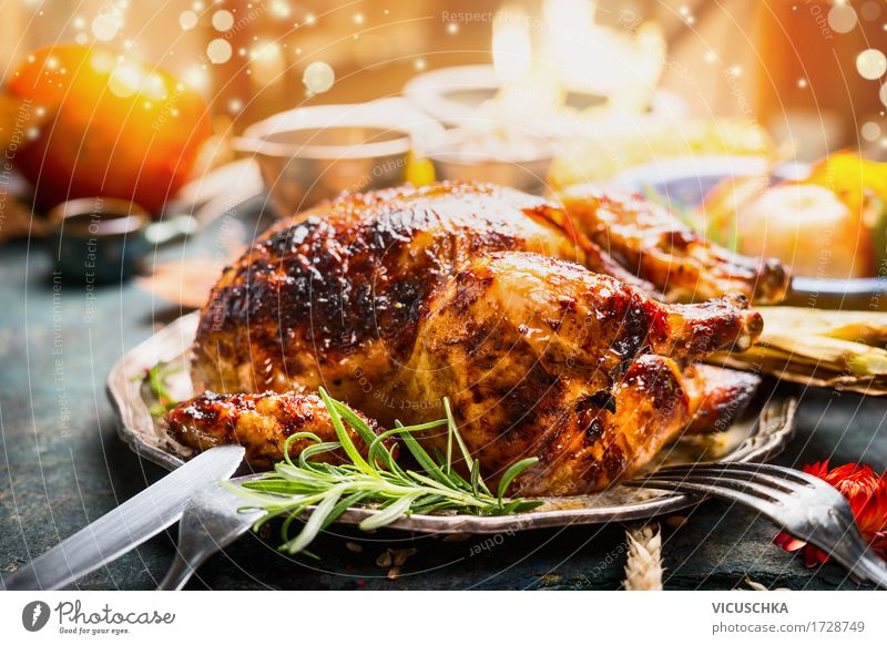 Thanksgiving table with roasted chicken Food Meat Nutrition Banquet Crockery Cutlery Style Design Living or residing Table Party Restaurant