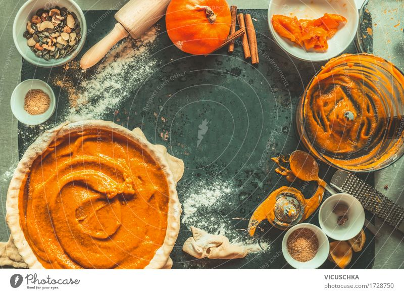 Pumpkin cake preparation with ingredients and kitchen utensils Food Vegetable Cake Dessert Herbs and spices Nutrition Banquet Organic produce Vegetarian diet