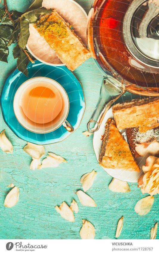 Joy Style Design Living or residing Table Simple Romance Beverage Crockery Cake Dessert Tea Cup Vintage Blossom leave Brunch