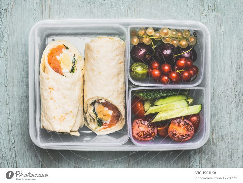 Healthy vegetarian lunch box with tortilla wraps Food Fish Vegetable Lettuce Salad Fruit Bread Nutrition Lunch Banquet Organic produce Vegetarian diet Diet Bowl