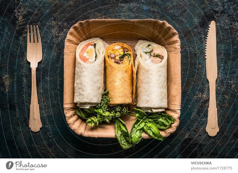 Vegetarian tortilla wraps in paper plates and wooden cutlery Food Fish Vegetable Lettuce Salad Bread Herbs and spices Nutrition Lunch Buffet Brunch Banquet