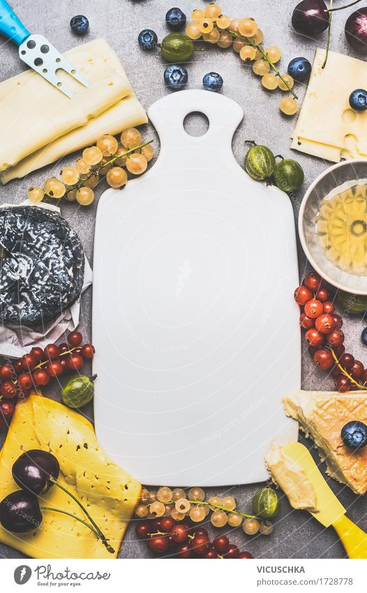 Empty cutting board and variety of cheese with berries Food Cheese Fruit Dessert Nutrition Breakfast Organic produce Vegetarian diet Crockery Bowl Style Design