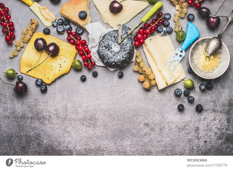 Delicious cheese platter with berries and honey Food Cheese Dairy Products Fruit Dessert Candy Nutrition Breakfast Buffet Brunch Organic produce Crockery Plate