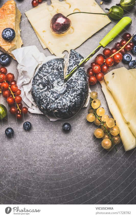 Delicious cheese with berries Food Cheese Fruit Dessert Nutrition Breakfast Buffet Brunch Organic produce Vegetarian diet Knives Style Design Life Table