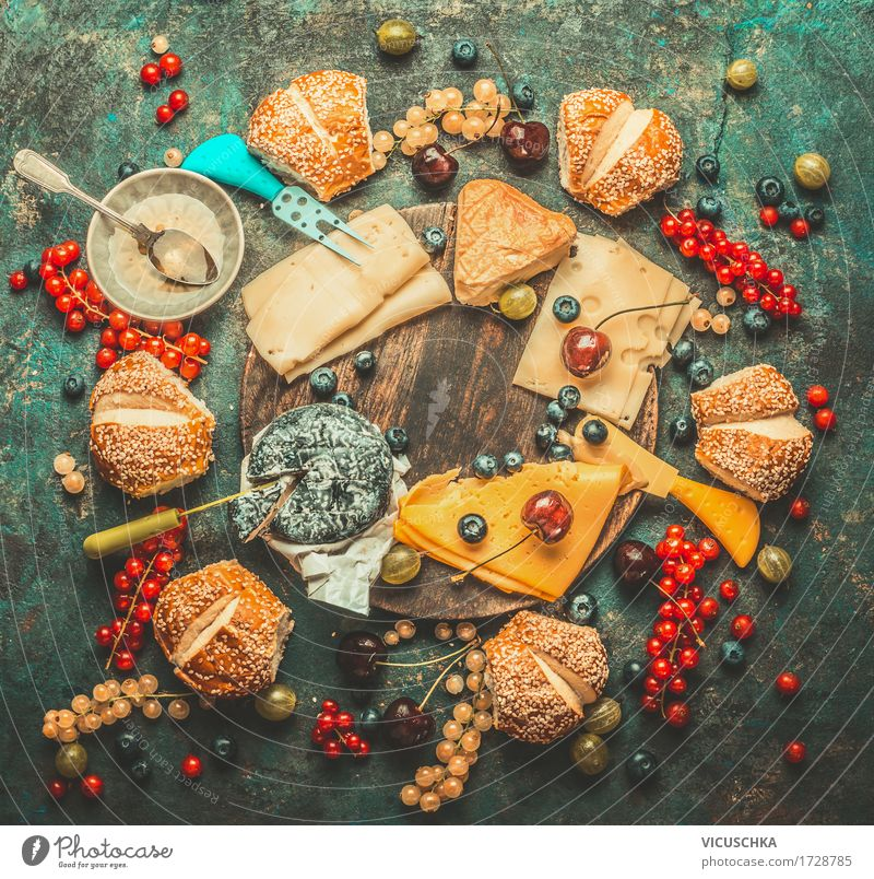 Cheese platter with berries, honey dip and rolls Food Fruit Roll Dessert Candy Nutrition Breakfast Organic produce Vegetarian diet Bowl Knives Style Design