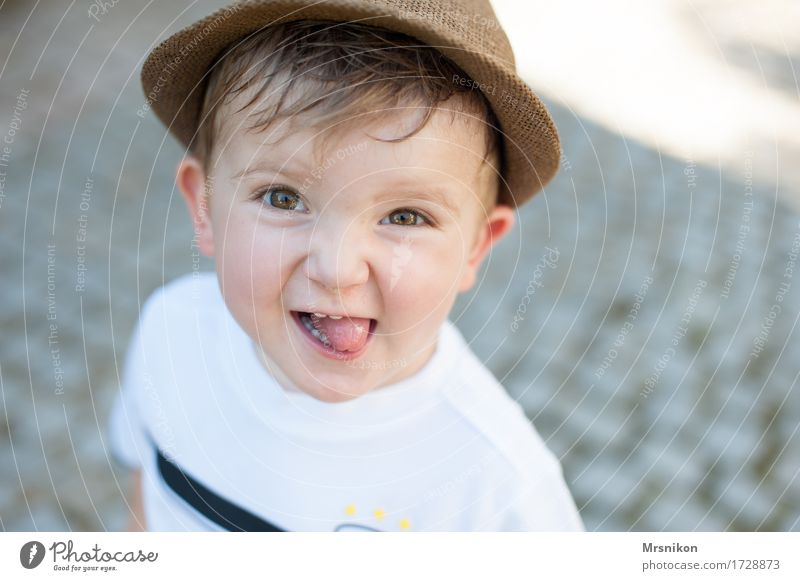happy Human being Child Toddler Boy (child) Infancy Life 1 1 - 3 years Laughter Happiness Joy Happy Happy Birthday Brash Impish Tongue Son Summer Exterior shot