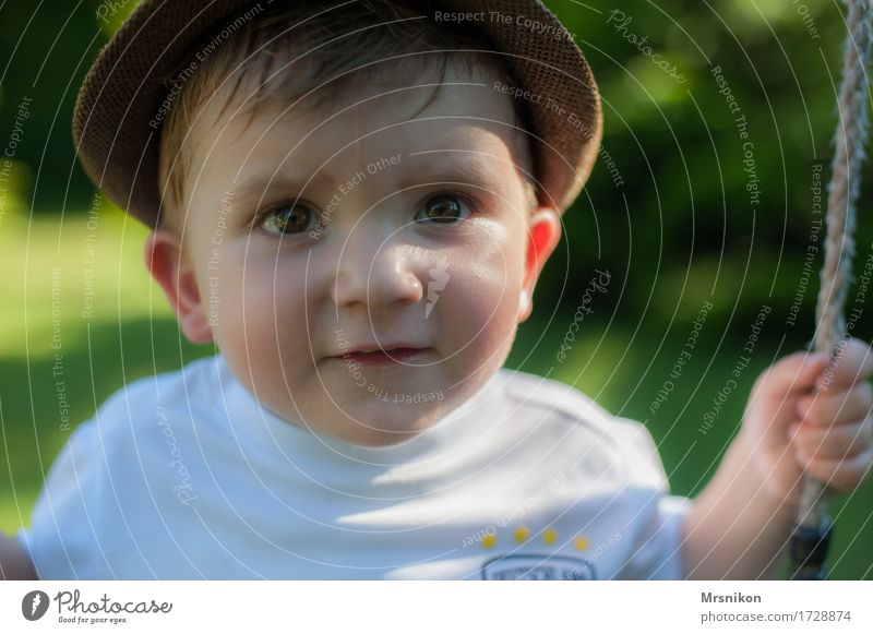 rock Toddler Boy (child) Brother Infancy 1 Human being 1 - 3 years Observe Smiling Son Hat Warmth Summer Summer vacation Swing To swing Playing Effortless