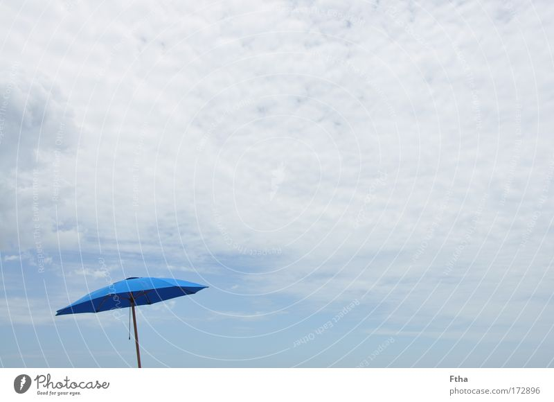 Rain or sun? Leisure and hobbies Vacation & Travel Tourism Freedom Summer Summer vacation Blue Sunshade Relaxation Clouds beach umbrella Cloth