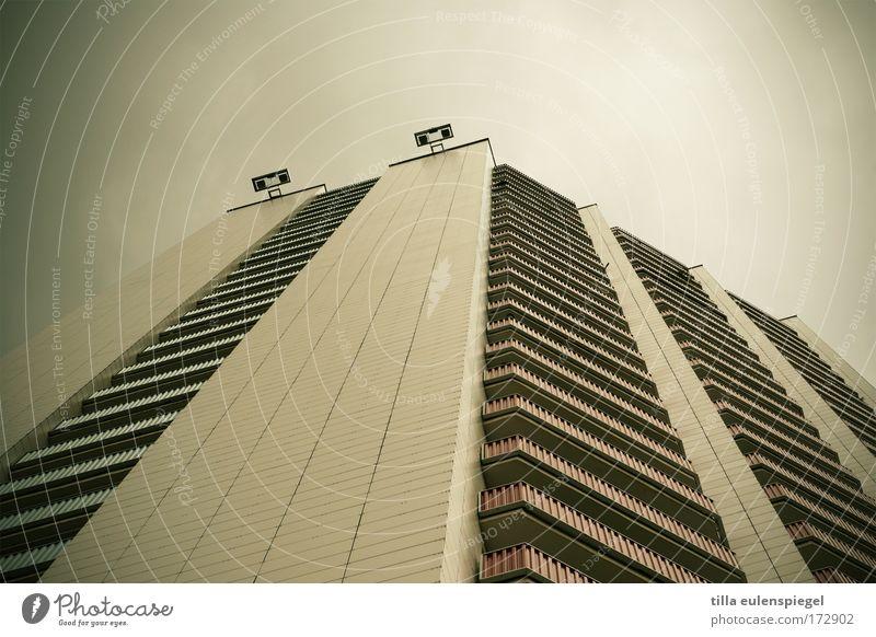 City House (Residential Structure) Dark Gray Facade Tall Large High-rise Gloomy Threat Balcony Leipzig Prefab construction Advancement