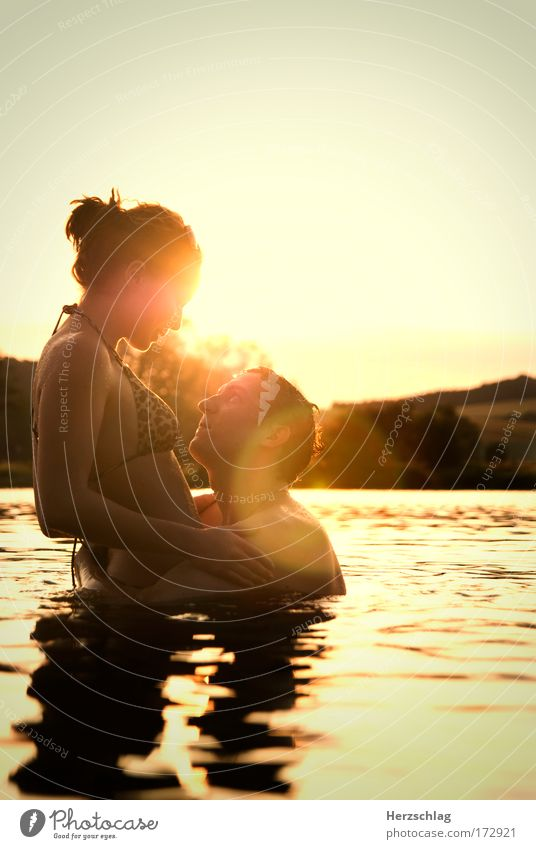 Human being Water Beautiful Sun Red Love Yellow Eroticism Feminine Emotions Sex Happy Laughter Lake Masculine Wet