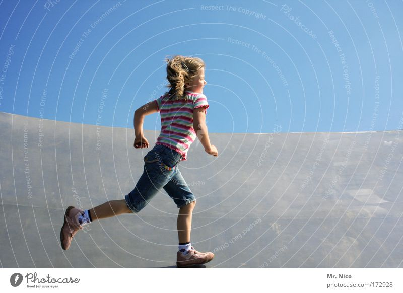 run around Exterior shot Fitness Sports Training Halfpipe Girl Arm Legs Walking Playing Joy Happy Happiness Contentment Joie de vivre (Vitality) Spring fever