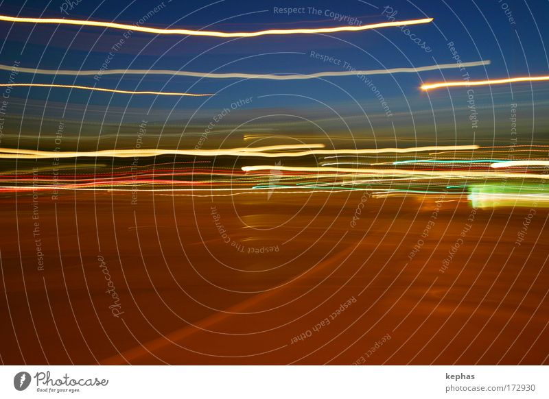 Blue Colour Street Emotions Movement Dream Brown Glittering Transport Speed Long exposure Surrealism Abstract Euphoria Motion blur