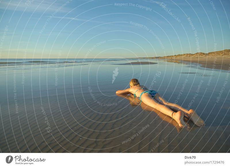 Young girl on the beach. Joy Happy Harmonious Relaxation Vacation & Travel Summer Summer vacation Sun Sunbathing Beach Girl 1 Human being 8 - 13 years Child