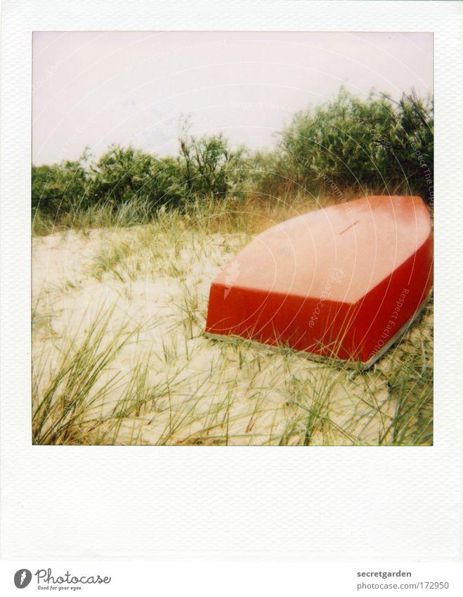 [AI09.1] I got a bright red rubber boat..... Colour photo Multicoloured Exterior shot Copy Space top Environment Nature Landscape Plant Sand Cloudless sky Grass