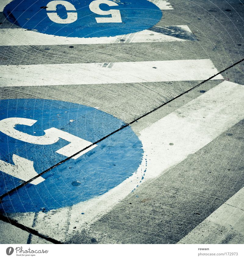 Blue Street Dark Road traffic Signs and labeling Concrete Transport Circle Round Characters Digits and numbers Airport Motoring Pedestrian Passenger traffic