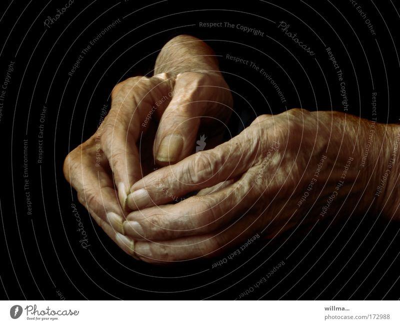 résumé Hand age Retirement pension Sign of old age Nursing home Grandmother Senior citizen Fingers Fingernail Wrinkle 60 years and older Old Belief Loneliness
