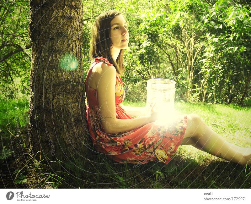 Human being Youth (Young adults) Tree Green Summer Yellow Relaxation Feminine Grass Garden Wait Woman Bushes Discover To enjoy Visual spectacle