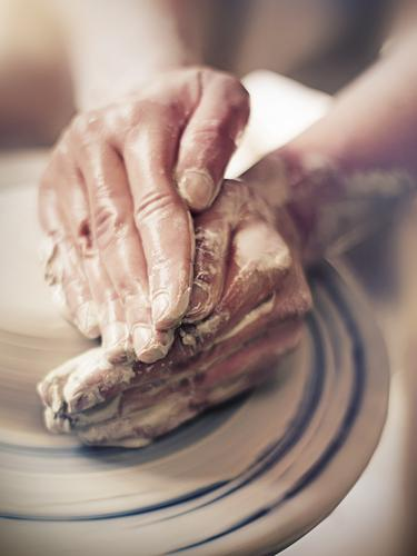 hands at pottery with clay| in the recording studio Tone Pottery Do pottery Craft (trade) Leisure and hobbies Craftsman Arts and crafts Hand Fingers