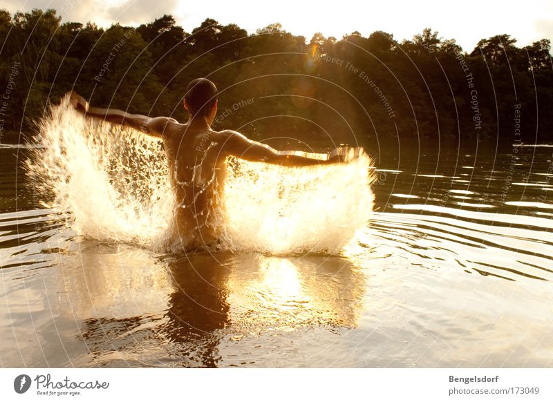 Human being Nature Youth (Young adults) Water Sun Summer Joy Vacation & Travel Sports Freedom Lake Body Arm Wet Drops of water Back