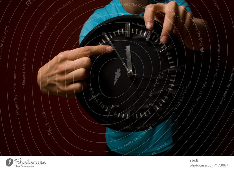 show time Colour photo Interior shot Copy Space left Copy Space right Artificial light Flash photo Shadow Contrast Upper body Lifestyle Style Study Clock