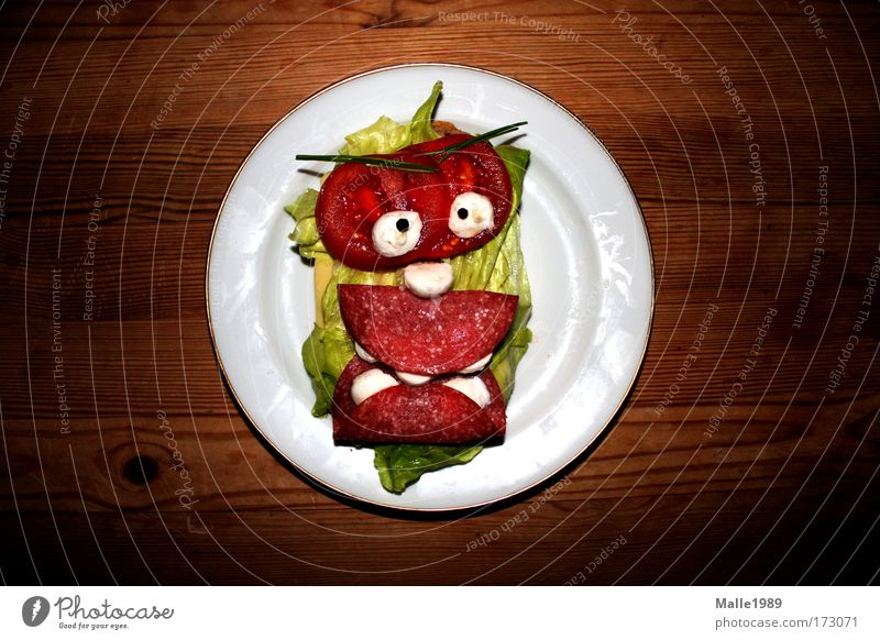 Meat Face Nutrition Food Funny Crazy Multicoloured Table Wild Kitchen Baked goods Portrait photograph Observe Grain Creepy Herbs and spices