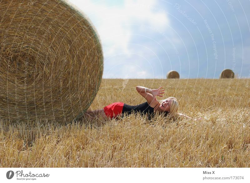 Woman Human being Youth (Young adults) Summer Death Landscape Adults Cornfield Funny Fear Field Blonde Arm Trip Large Crazy