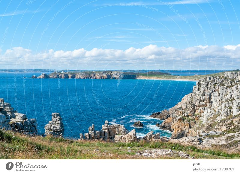 Pointe de Pen-Hir in Brittany Summer Ocean Landscape Water Rock Coast Stone Authentic pointe de penhir Finistere France Rock formation Crozon peninsula Cliff
